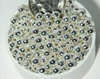 4mm Silver Plated Beads Round Smooth Metal 500pc Beads