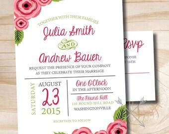 GARDEN FLORAL Rustic Wedding Invitation Response Card Invitation Suite