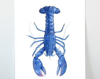 Blue Lobster Watercolor Painting 11x17 Print