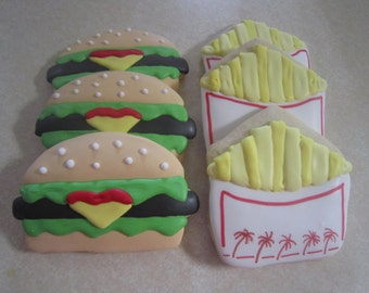 1 Dozen Burgers and Fries Hand Decorated Cookies