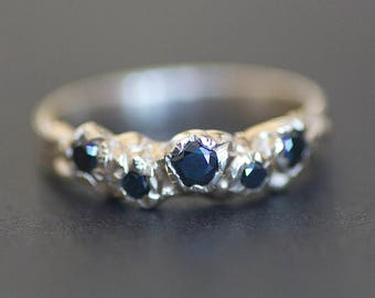 Black Diamond Ring - 10k Gold Band with 5 Diamonds - Organic Ring  - Recycled Metal - READY TO SHIP - (Size 6.5 / Resize)