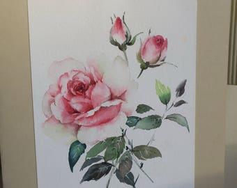 Roses orginal watercolor greeting card