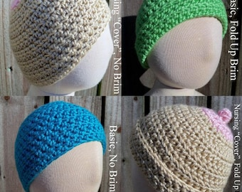 """Four Way Chilly Pattern - Pattern for a Crocheted Beanie with Fold Up Brim and Nursing """"Cover"""" Options"""