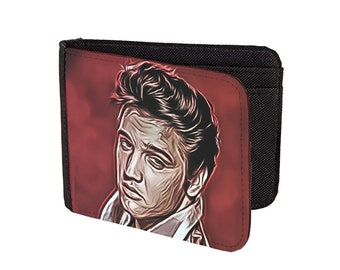 elvis presley wallet faux leather king of rock and roll legend card print art live guitar