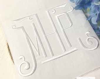 Chinoiserie Monogram Linen Hemstitch Guest Towel. White on White Powder Room Decor. Bar Cart Accessories. Hostess Gift. Embroidered Linens.