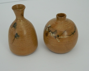 Pair of Vintage Small Bud Pottery Vases