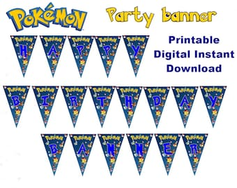 Pokemon Banner, Happy Birthday Banner Instant Download