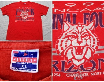 Vintage Retro Men's 90's Arizona Wildcats 1994 Basketball Final Four  Championship Trench Red Tee shirt Short Sleeve XL Made in USA