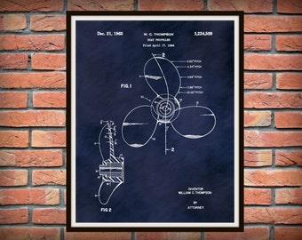 Patent 1965 Boat Propeller - Art Print Poster - Boat - Ship - Nautical Wall Art - Marina Art - Naval art - Sailing Art
