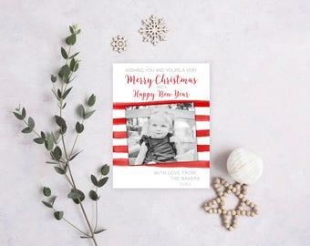 Christmas/Holiday Card - Christmas Holiday Photo Card - Printable - Red and White Stripes - Water Color - Digital Card
