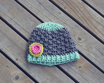 Unique textured crochet baby girl hat with flower