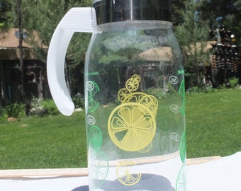 Vintage Clear Drink Pitcher/Juice Carafe with Yellow and Green Fruit Slices