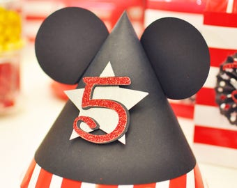 Fancy Mickey Mouse Theme Party Handmade Birthday Hat - Black Red - Personalized (Number or Letters) (Set of 6)