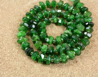 Chrome Diopside Faceted Rondelle Beads - Green Opaque Center Drilled Beads, 7-8mm