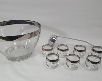 Cut Glass Punch Bowl with Silver Rim and Ladle Roly Poly Dorothy Thorpe Style Glasses