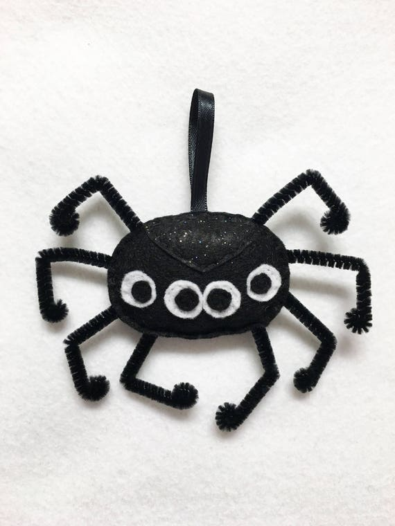 Spider Ornament, Halloween Ornament, Sidney the Spider, Felt Gift Topper, Spooky Home Decoration