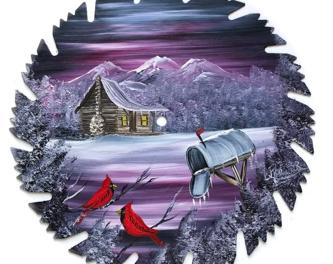 Hand Painted Saw Blade Mauve Winter Cabin Cardinals and Mailbox (Will Personalize)