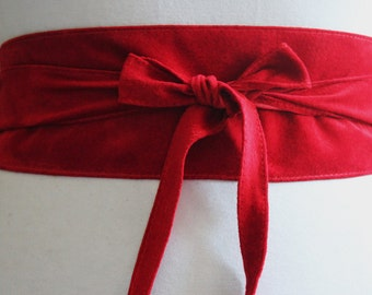 Bright Red Suede Obi Belt | Corset Waist Belt | Sash Belt |Suede Leather Belt| Handmade obi Belt | Plus size accessory | Leather Wrap Belt