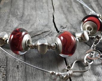 Lampwork Necklace, Glass bead necklace, red bead necklace, silver necklace, gift for her, beaded necklace, Handmade lampwork, Elesha Design