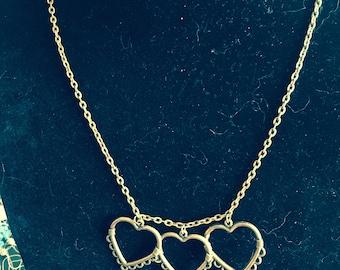 "Antiqued brass triple heart & key necklace, 22"""