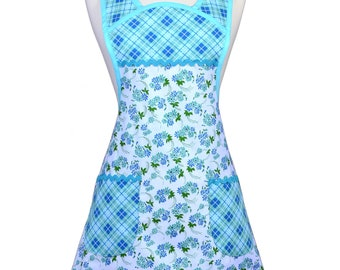 Vintage Women's Apron Old Fashioned 1940-1950's Kitchen Cooking Style Blue and Green Floral Check Trim Fabric - Large Pockets - Gift for Her