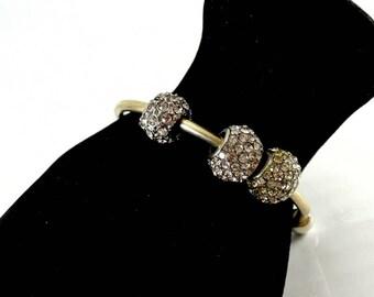 Silver Tone Half Bangle Bracelet with Rhinestone Beads Vintage 1980 Bangle 6 Inch Long Bangle Three Rhinestone Round Beads