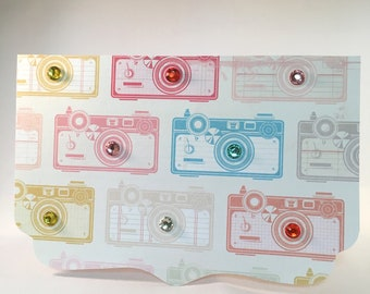 Sparkle Camera/Photographer Colourful Gem Note Card