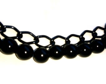 Black Chain and Beads Bracelet