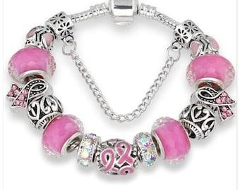 Breast Cancer Awareness 21cm charm  Bracelet