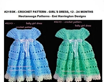 crochet pattern, Baby Girl Crochet Dress, 1 - 2 yrs, Quick and easy to crochet, pdf instant download, #2193-2, Hectanooga Patterns