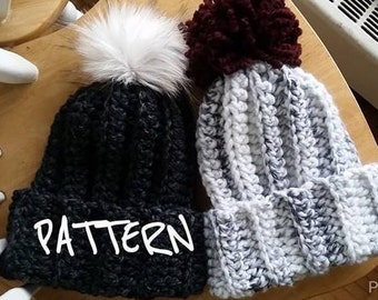 CROCHET PATTERN - The Discovery Beanie // Chunky ribbed crochet beanie, faux fur pom-pom, winter beanie,  wool hat, chunky toque