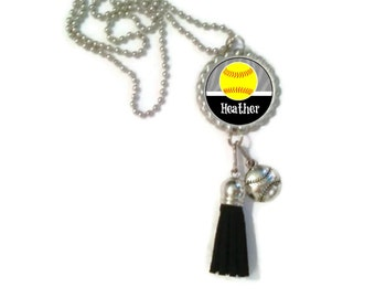 1 Personalized Silver Softball Bottlecap Tassel Necklace 16 Color Choices softball gifts softball team softball team gifts necklaces