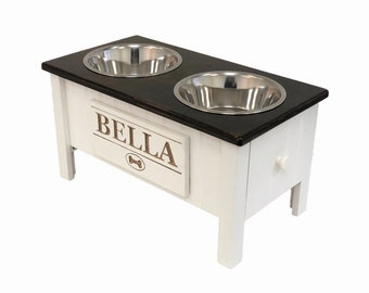 Customized Dog Food Station with Storage | Raised Dog Food Bowl | Handmade Dog Feeder with Storage