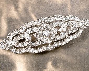 1920s Hair Clip, Bridal Hair Clip Art Deco Barrette, Art Deco 1920s Vintage Wedding Silver Rhinestone