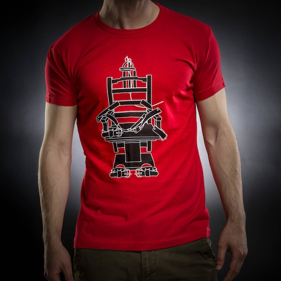 Electric chair shirt,tshirt men,red tshirt,Gift for him,Occult,Horror,Execution,Cotton,Sol's tee,Serial Popers tshirt