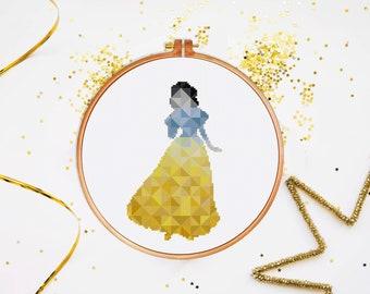 Snow White cross stitch pattern, Geometric Disney princess modern nursery fairy counted cross stitch, instant download easy baby room decor