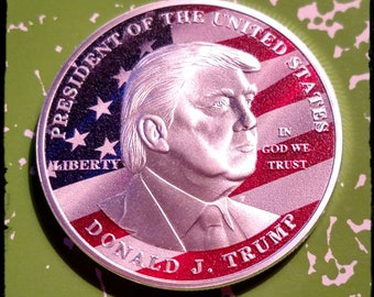 USA President Donald Trump Colorized Challenge Art Coin