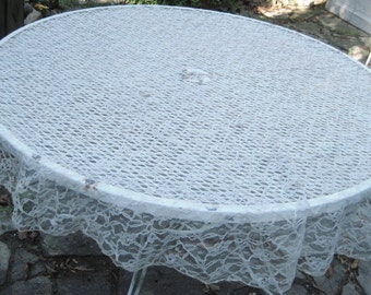 """Round ivory lace tablecloth, cream lace tablecloth, 60"""", 5 feet, shabby cottage chic decor, French farmhouse, 1248"""