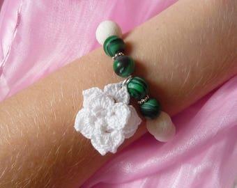 Crochet jewelry pendant bracelet beaded bracelet crochet bracelet white bracelet flower bracelet white green bracelet malachite bracelet
