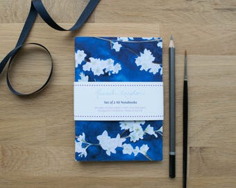 A6 Notebook Set of 2 | Blue & White Midnight Blossom | with plain pages | Made with Recycled Paper | Designed in Yorkshire | Made in the UK