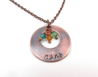 Nana Charm Necklace with Birthstones Antiqued Copper Oxidized Personalized Necklace Birthstone Necklace Crystal Birthstone Necklace