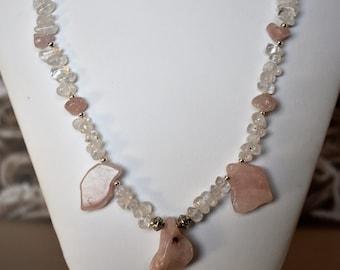 Women's Rose Quartz and Quartz Crystal Necklace