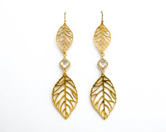 Leaf Earrings with CZs, Dangle Earrings, Wedding Jewelry, Bridesmaid Jewelry, Mother's Day, Graduation Gift