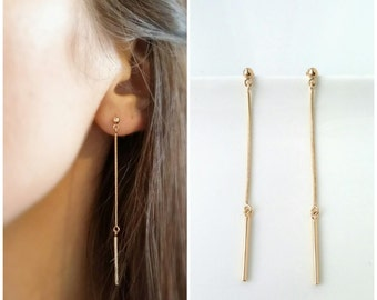 Earrings gold plated dangling chains 750/000 - features great minimalists channels-minimalist chain earrings gold plated 18 k