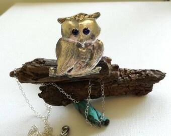 OWL Bird Silver pendant, silver owl pendant,owl jewelry tree,Owl tree necklace,Owl necklace,Unique Owl necklace,Silver Owl pendant necklace,
