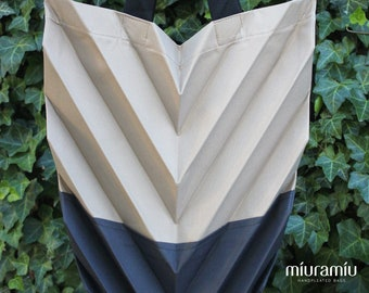 Large handpleated Chevron handmade tote bag