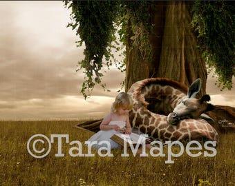 Sleeping Baby Giraffe by Tree Digital Background