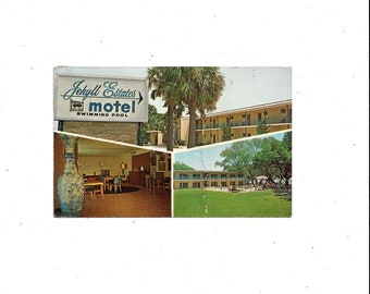 1972 Color Postcard of Jekyll Estates Motel, Jekyll Island, Georgia, Posted, NO Stamp, Vintage Travel Souvenir Ephemera, Dexter Press