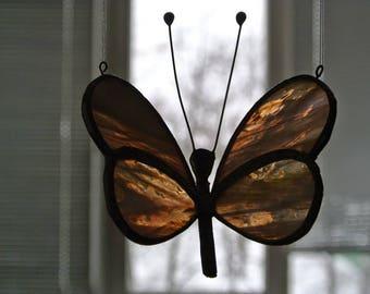 Stained glass butterfly suncatcher, Garden decoration, Iridescent glass, Suncatcher butterfly, Pink Butterfly, Large Garden Glass Butterfly
