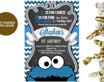 Cookie monster invitation etsy cookie monster birthday invitation cookie monster invitation cookie monster editable cookie monster filmwisefo